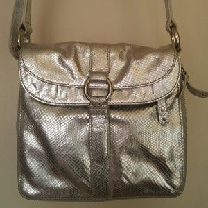 Silver leather faux snakeskin bag by Cole Haan
